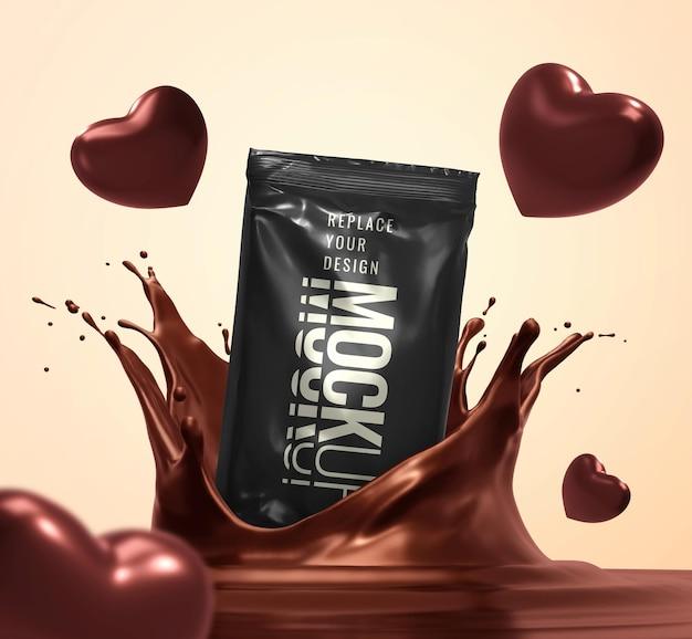 Mockup di pubblicità del cuore di cioccolato di san valentino