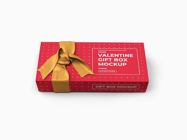 Valentine gift box mockup design isolato