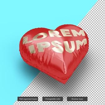 Valentine heart balloon mockup design nel rendering 3d