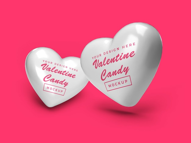 Valentine heart candy mockup design