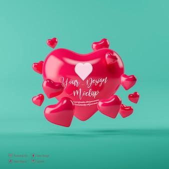 Mockup di cuore di san valentino isolato
