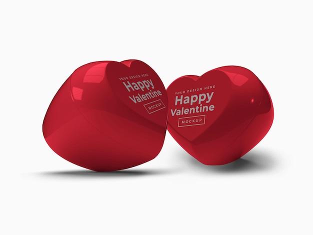 Contenitore di san valentino amore cuore con coperchio mockup