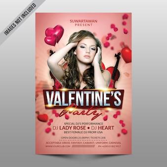 Valentine party flyer mockup