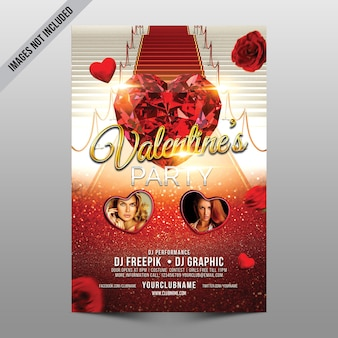 Valentine party flyer mockup