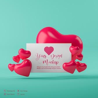 Mockup di cartolina di san valentino isolato