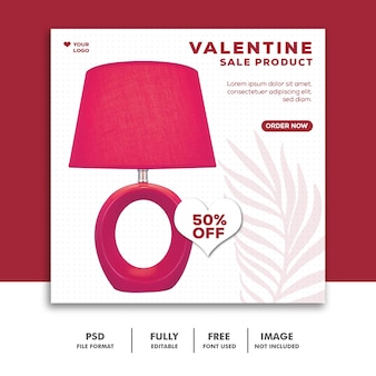 Post di vendita di prodotti valentine per social media