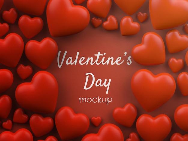 Mockup di concetto di san valentino con cuori sparsi isolati