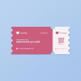 Mockup di coupon di sconto di san valentino