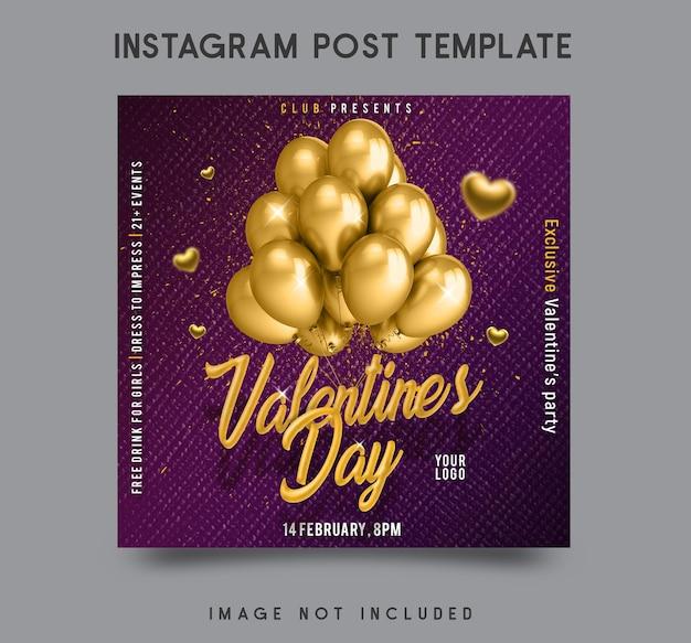 Disegno del modello di post instagram di san valentino