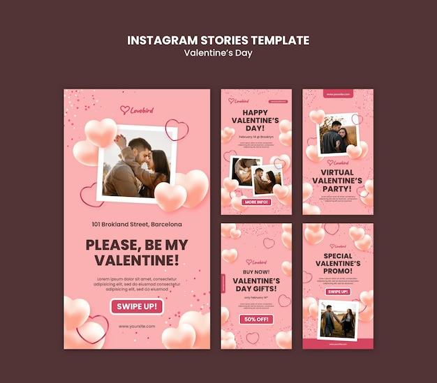 Storia di instagram di san valentino con foto