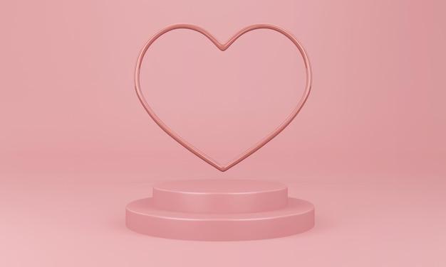 Interno di san valentino con piattaforma rosa pastello nel rendering 3d