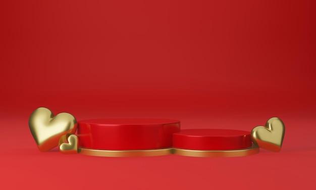 Interno di san valentino con piattaforma rossa, cuori, supporto, podio, piedistallo per merci