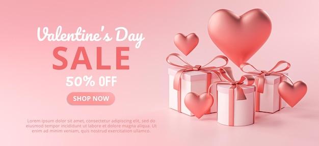 San valentino vendita banner a forma di cuore e confezione regalo 3d rendering