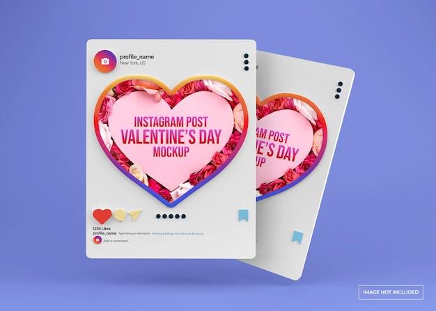 Mockup di post sui social media di san valentino