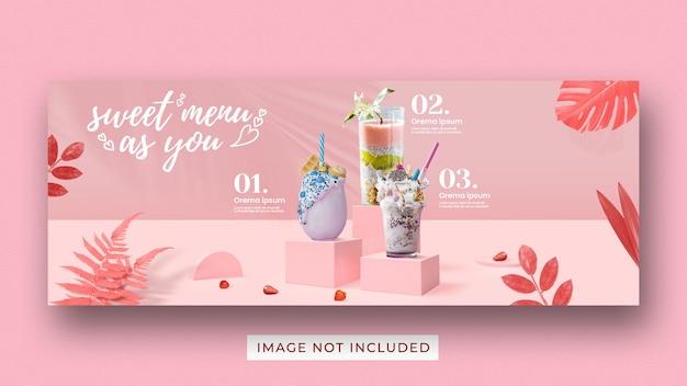Modello di banner di copertina di facebook di social media di promozione del menu di san valentino
