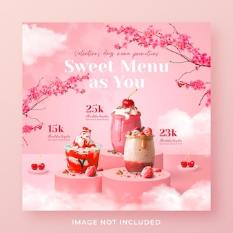 Modello di banner post instagram di social media di promozione del menu di san valentino