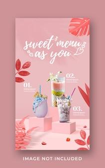 Modello di banner di storia di instagram di social media di promozione del menu di bevande di san valentino