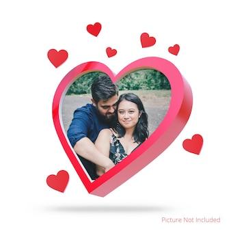 Mockup di cornice per foto a forma di cuore di san valentino