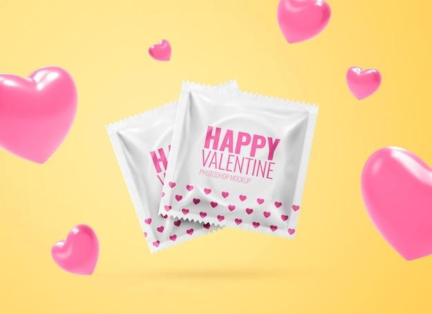Mockup di preservativo per pubblicità sessuale sicura di san valentino