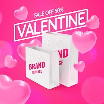 Mockup di banner di promozione dello shopping di san valentino