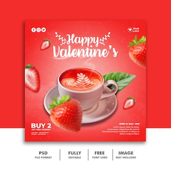 Modello di banner di san valentino social media post per il menu di cibo