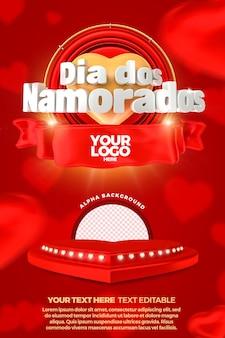 Etichetta 3d di san valentino con modello di banner sul podio