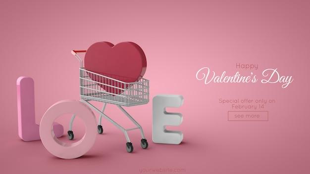 Banner di vendita di san valentino. amore scritte e carrello della spesa.