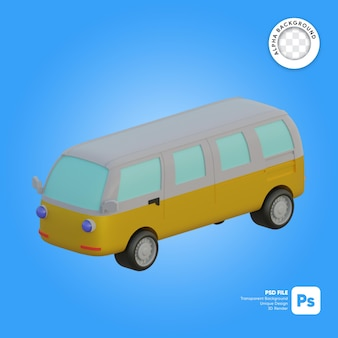 Van bus classico oggetto 3d retrò isometrico