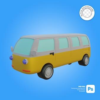 Oggetto 3d dall'aspetto retrò classico del furgone del bus