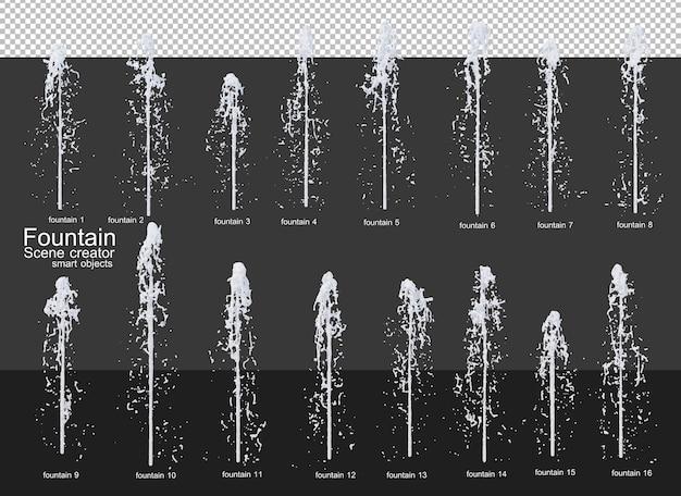 Una varietà di fontane