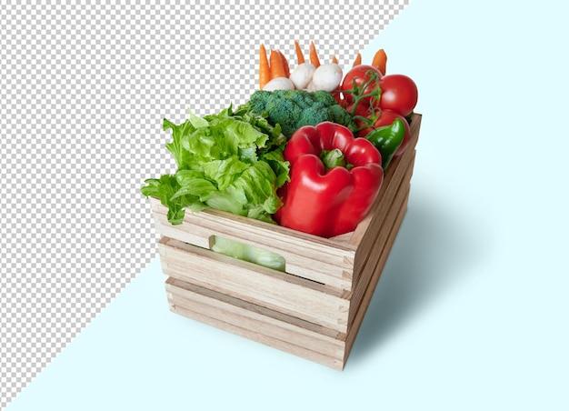 Varietà di verdure fresche in scatola di legno, mockup