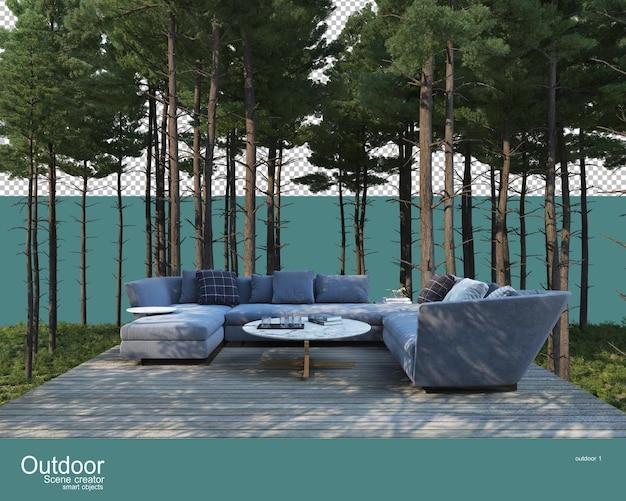 Una varietà di mobili da esterno