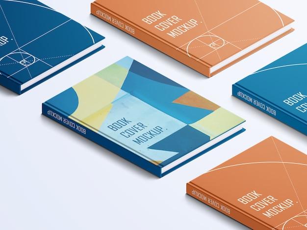 Varietà di mockup di copertine rigide realistiche di libri ad alto angolo