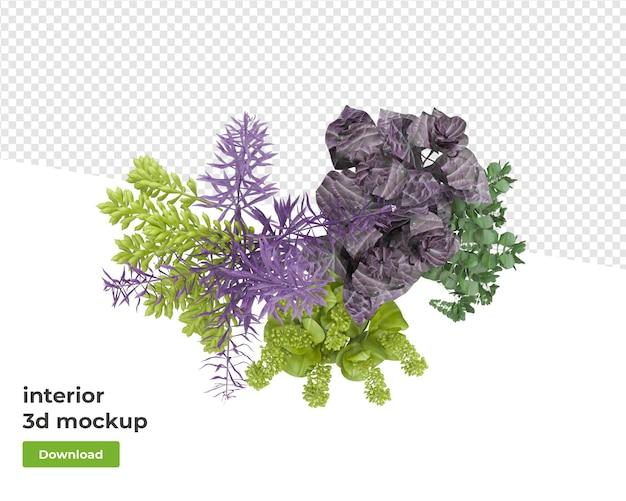 Varie piante di decorazione in vaso rendering 3d