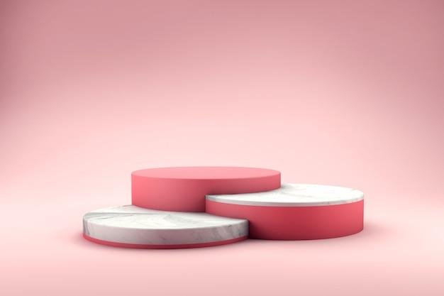 Varie altezze del podio con rendering 3d texture marmo