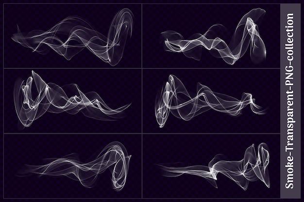 Varie forme di fumo trasparente nel rendering 3d