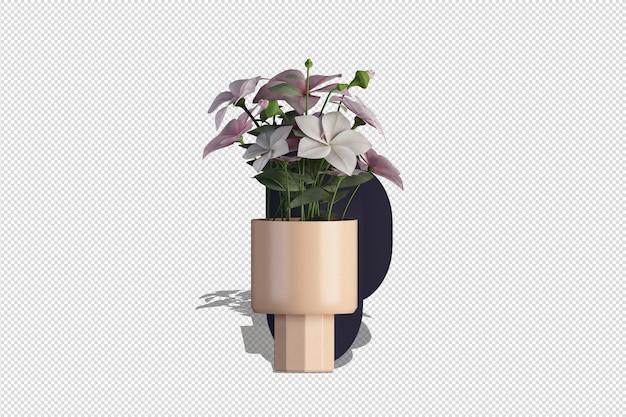 Vaso di fiori in rendering 3d
