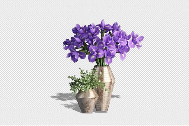 Vaso con fiori in rendering 3d isolato