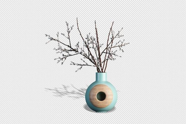 Vasi di fiori secchi in rendering 3d