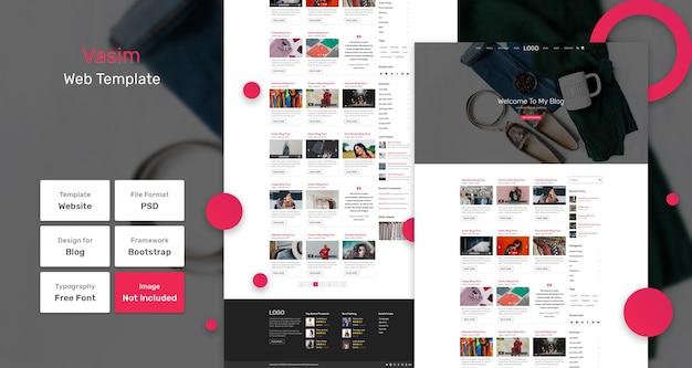 Modello di pagina web del blog vasim