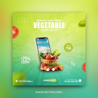 Modello di post sui social media di instagram per la promozione della consegna di verdure e generi alimentari psd premium