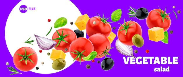 Ingredienti insalata di verdure isolati