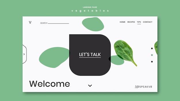Modello di pagina di destinazione del concetto di verdure