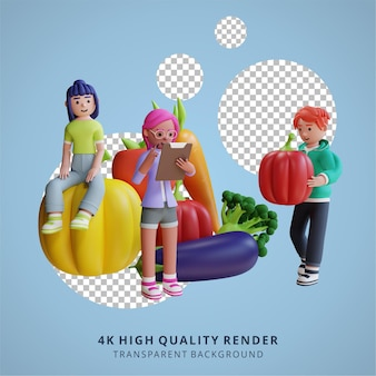 Vegetariano nutrizioni sane e verdure pasto illustrazione 3d rendering