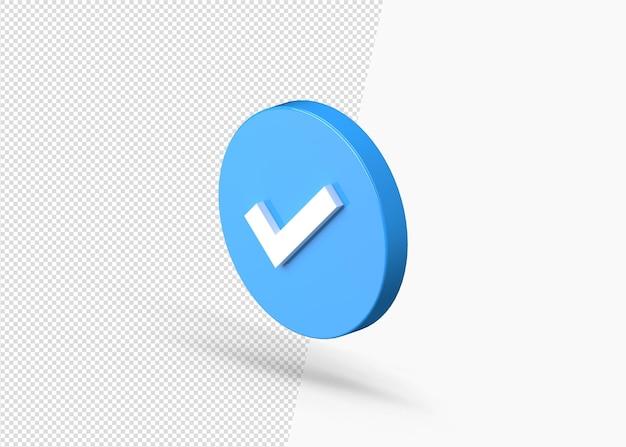 Segno di spunta blu verificato o approvato isolato rendering 3d