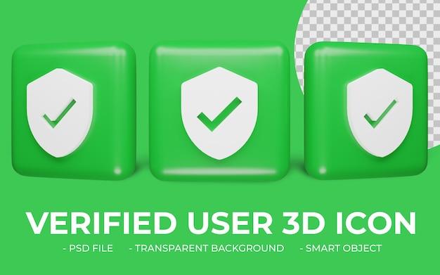 Utente verificato o icona di verifica rendering 3d