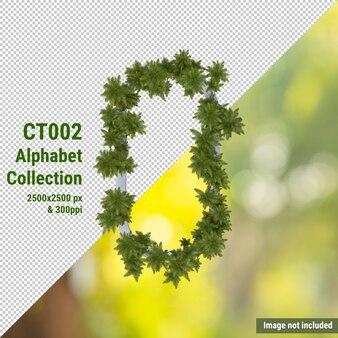 Alfabeto verticale di cocco e foglie verdi e bianche