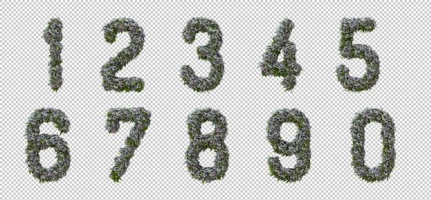 Alfabeto verticale dell'albero del giardino e delle foglie verdi, lettera 0-9