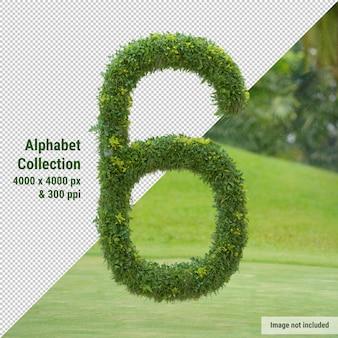 Alfabeto verticale dell'albero da giardino e delle foglie verdi, lettera 6