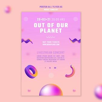 Volantino verticale di un concerto di musica fuori dal nostro pianeta